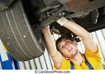 Automóvil, mecánico, coche, suspensión,...