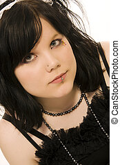 pierced girl of gothic style - portrait of pierced girl of...