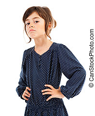 Confident little girl with hands on hips - Portrait of a...