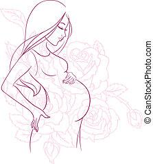grávida, mulher