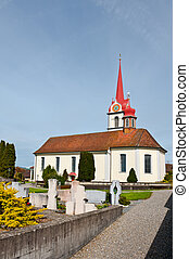 Christian Church with Clock Tower in Switzerland