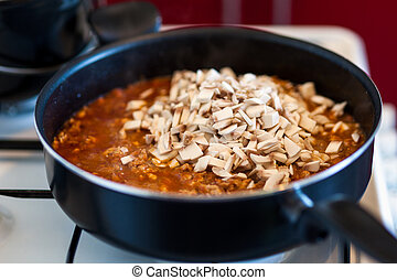 Stew cooking in pan