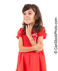 Portrait of a funny spoiled little girl isolated on white background