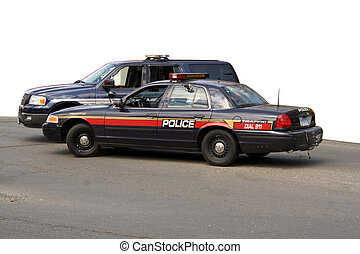 Police Vehicles - A police car and sport utility vehicle...