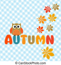 Autumn lettering with cute owl