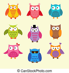 Vector set of cute owls