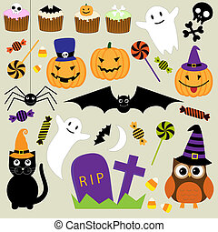 Vector set of Halloween elements