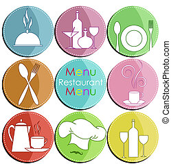 Nine icons with elements of kitchen accessories