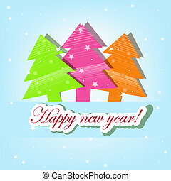 Three colorful Christmas trees on a blue background