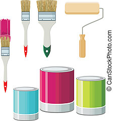 Set Of Brushes And Paints For Walls - Vector illustration....