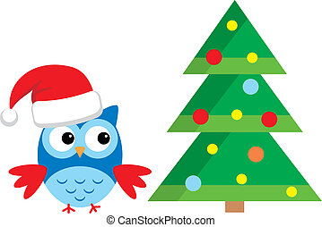 Owl Under The Christmas Tree