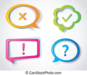 Color hand drawn speech bubbles - Vector illustration of...