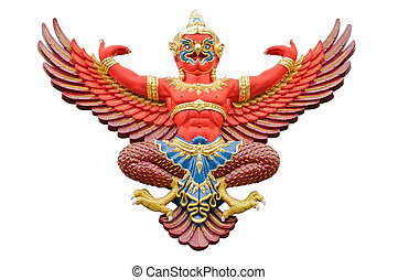 Red garuda statue isolated on white background