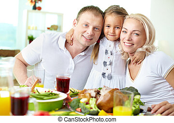 Thanksgiving celebration - Portrait of happy couple and...