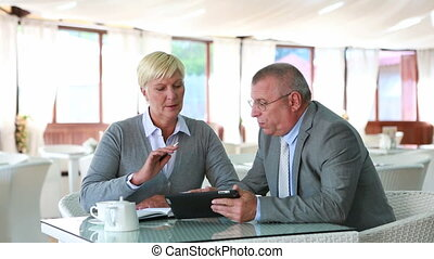Client - Senior businessman having a meeting with client in...