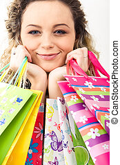 Great shopping - Closeup of young girl�s face looking...