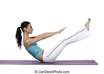 woman stretching her legs and arms