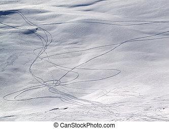 Tracks on off-piste slope. Caucasus Mountains, Georgia, ski...