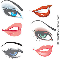 Lips & eyes set - Vector illustration of Lips & eyes set