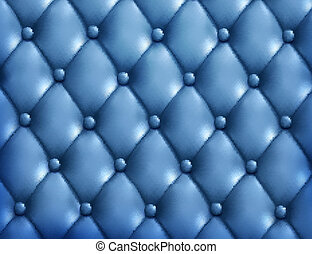 Blue button-tufted leather background. Vector illustration.