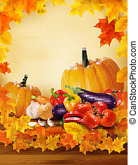 Autumn vegetable on wooden background with leaves. Autumn background. Vector.