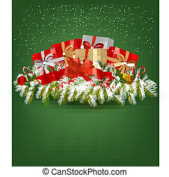 Christmas background with presents and a ribbon. Vector...
