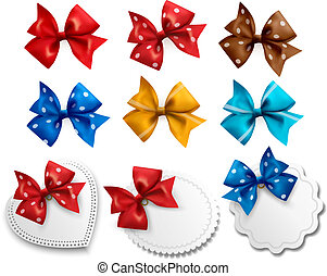 Big collection of colorful gift bows and labels. Vector illustration.