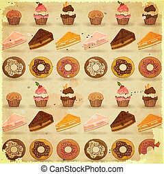 Retro Dessert Background - Vintage Poster - Dessert...