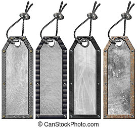 Set of Grunge Metal Tags - 4 items - Four empty grunge...