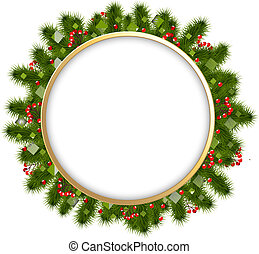Christmas Composition With Firtree Branches - Christmas...