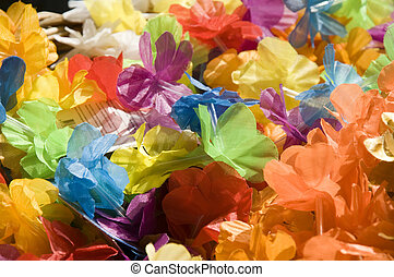 nylon flowers - close-up from colorful nylon flowers
