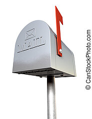 Old School Retro Metal Mailbox - An upward view of an old...