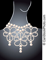 pearl necklace - luxury pearl necklace on a dark background