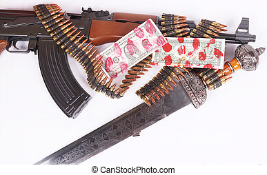 AK-47, bandoleer and sword - A Russian AK-47 and a bandoleer...