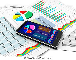 New technology - Business report in mobile phone, new...