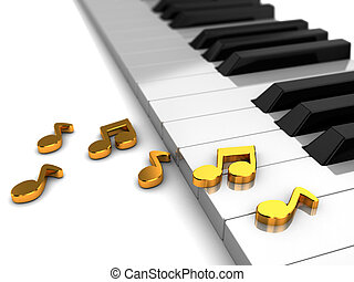 Golden hit - Classic piano with golden music notes, 3d...