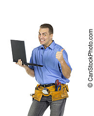 construction worker smiling while holding a laptop