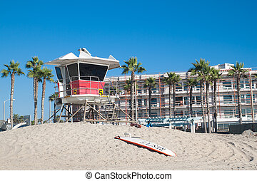 Lifeguard tower on California Beach