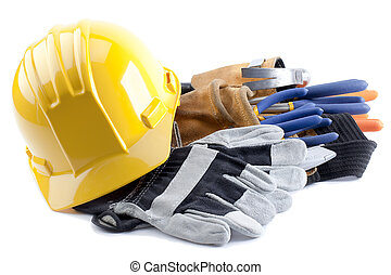 hard hat and gloves - Hard hat and gloves with construction...