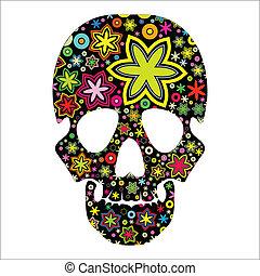 skull in flowers - cartoon illustration
