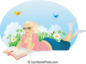 Reading woman - Vector illustration of Reading woman