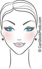 Female face front - Vector illustration of Female face front
