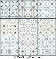 Set of 9 snowflakes pattern - Set of 9 seamless snowflakes...
