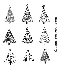 Set of 9 Christmas trees - Set of 9 hand drawn Christmas...