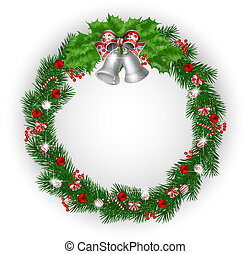 Christmas wreath with bells and decoration
