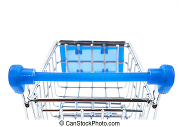 Shopping Cart - steel shopping cart with blue handle on...
