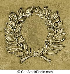 Bronze relief ornament in memorial shape