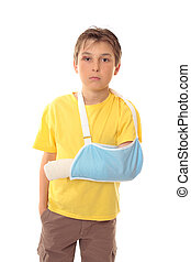 Boy with arm in sling - Hurt boy with one arm in a sling and...