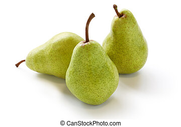three pears - on a whit background