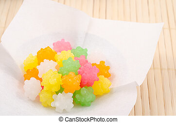 Japanese sugar candy - Close up of colorful japanese sweet...
